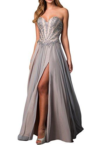 ivyd ressing Mujer Elegante Corazón de recorte a de línea piedras fiesta vestido fijo para vestido de noche plata