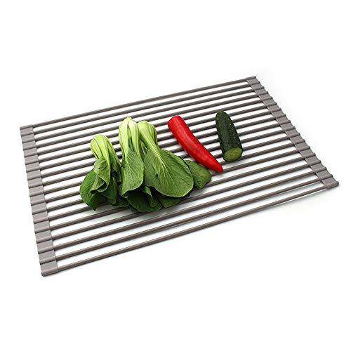 Grey Dish Drying Rack Sink Multipurpose Roll - Up Dish Rack Cover all Silicone gel Dish drainer for Fruits and Veggies Drainer