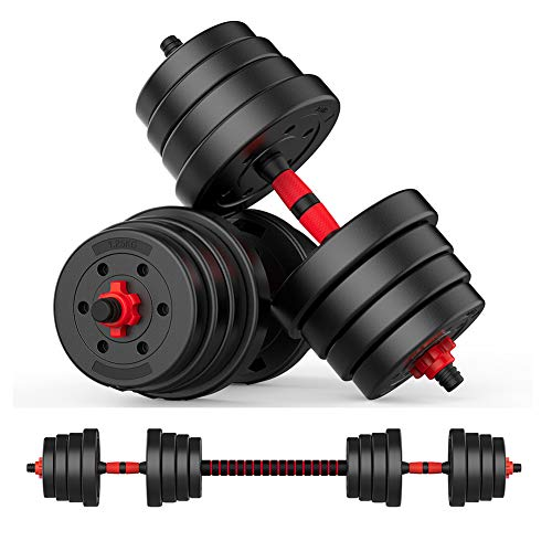 oftoto 44 Lbs Adjustable DumbbellBarbell– Black and Red, 22lb dumbbell set of 2 with a barbell bar, Multiple Weights Set are Prefect for Men and Women do Professional Fitness Training and Warming up Body at Homeor office