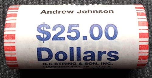 (Andrew Johnson Presidential Unopened Bank Wrapped Dollar 25 Coin BU ROLL)