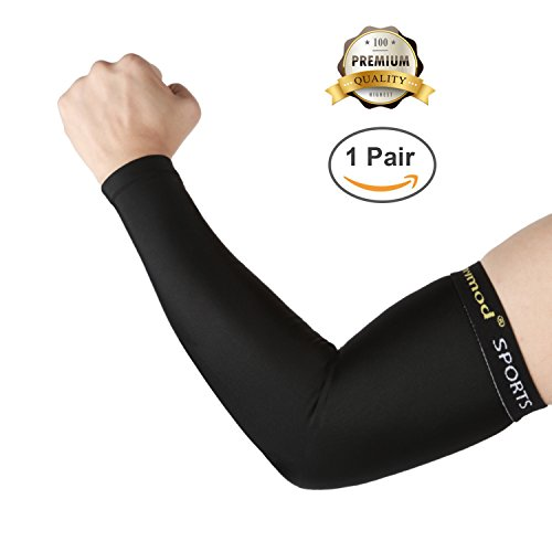 SHINYMOD Arm Sleeves UV Protection Sleeves for Men Women Youth Arm Warmers Compression Sports Long Sleeves Cycling Hiking Golf Basketball Driving Fishing Tattoo Covers Elbow Sleeves (Black, XL) Black Silicone Sleeve Cover