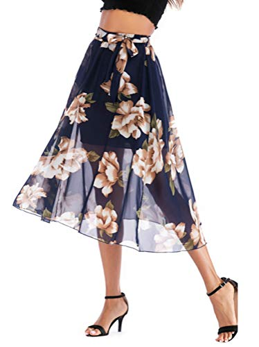 (High Waist Long Skirt Women Clothes New Summer Chiffon A-Line Skirt Plus Size Casual Floral Skirt with Lining Blue S)