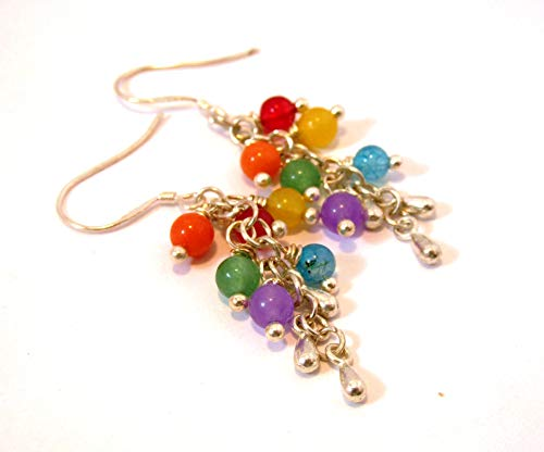 Rainbow stone mix cluster earrings ()