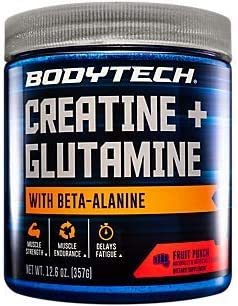 Creatine and Glutamine with Beta Alanine Fruit Punch Supports Muscle Growth, Recovery and Immune Health 12.6 Ounce Powder by BodyTech