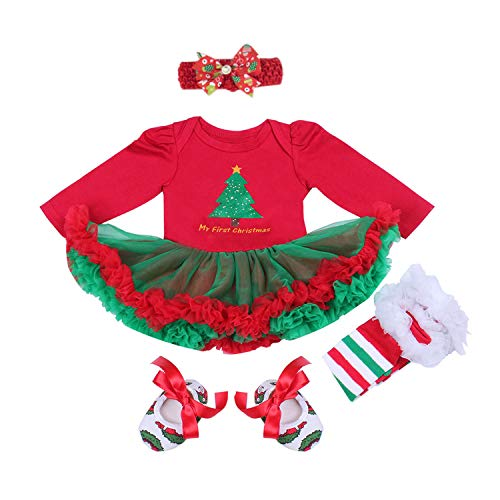 BabyPreg Baby Girls My First Christmas Santa Costume Party Dress 4PCS (L for 9-12 Months, Red) -