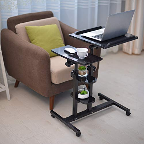 Jeash Rolling Laptop Cart | Mobile Laptop Desk with Wheels | 3 Height Adjustable Tilting Bedside Sofa Couch Recliner Tray with Wheels[Ship from USA Directly] (Black)