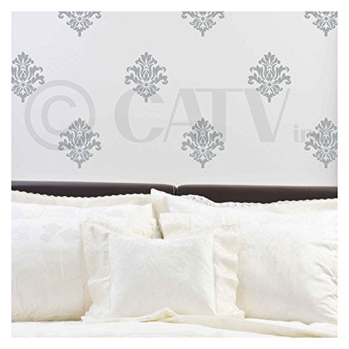 Damask set of 18 vinyl wall decal self adhesive wall pattern stickers (Metallic Silver) ()