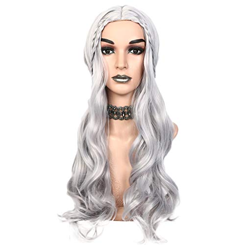 (Glumes Silver Lace Front Wig Long Wave Synthetic Wig For Woman Game of Thrones Daenerys Targaryen Khaleesi Halloween Costume Ash Blonde Wigs Natural Looking Cosplay Fashion 30 Inch)