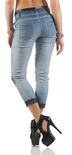 ZARMEXX Pantalones Chinos Jeggings de las mujeres imprimen en dos versiones de los modelos 10912 azul con brillo