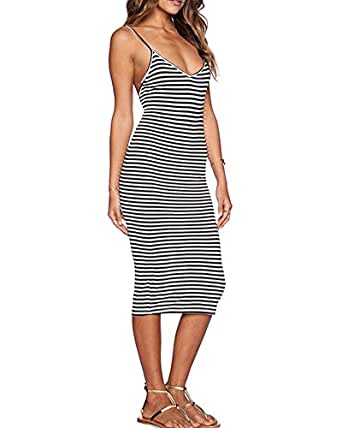Women's V Neck Sleeveless Striped Backless Cocktail Bodycon Party Midi Casual Dress L