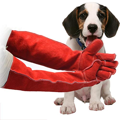 60cm Pet Anti-Biting Gloves Cowhide Lengthen Anti-Grab Puncture Training Dogs Animal Hand Protection Gloves Red