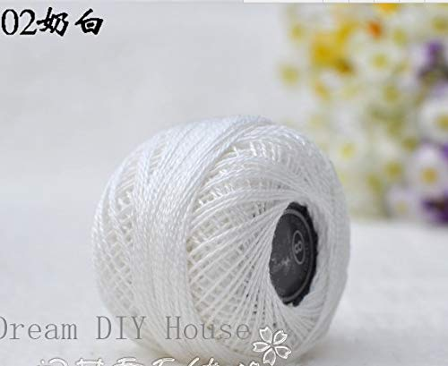 Maslin 10 Rolls White Color 9s/2 100% Cotton Stitch Embroidery Thread Crochet Thread Hand Cross Embroidery Thread