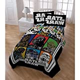 5 Piece Boys Star Wars The Movie Patchwork Comforter Twin Set, Kids Retro Starwars Patch Work Graphic Bedding, Multi Color Character Darth Vader Yoda Chewbacca Storm Trooper Themed Pattern Red Green