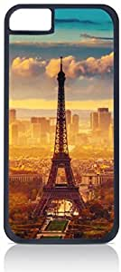Eiffel Tower Case for the Apple Iphone 5C-Hard Black Plastic Outer Shell with Inner Soft Black Rubber Lining