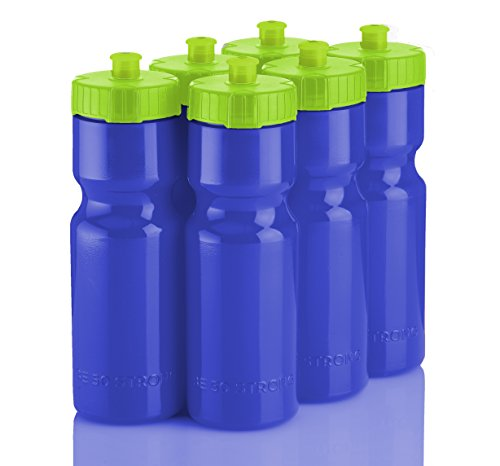 50 Strong Sports Squeeze Water Bottle Team Pack – Includes 6 Bottles - 22 oz. BPA Free with Easy Open Push/Pull Cap – Made in USA Blue -