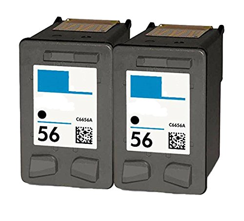 OCProducts Refilled HP 56 Ink Cartridge Replacement for HP PSC 1315 PSC 2410 PSC 1110 PSC 2175 Officejet 6110 Deskjet 450 PhotoSmart 7150 7260 Printers (2 (1315 Inkjet)