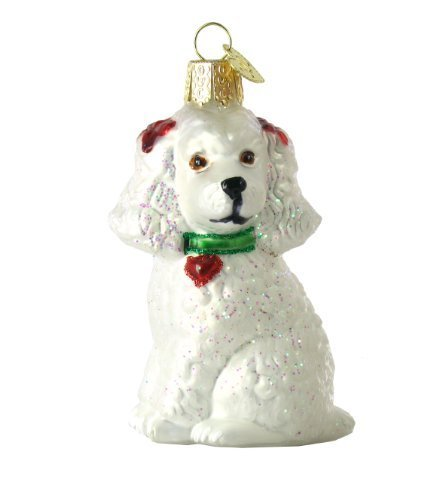 Old World Christmas Poodle Glass Ornament- White
