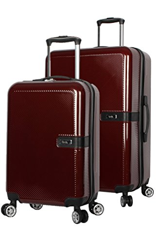 Nicole Miller New York Ria Collection Hardside 2-Piece Spinner Luggage Set: 24' and 20' (Burgundy)