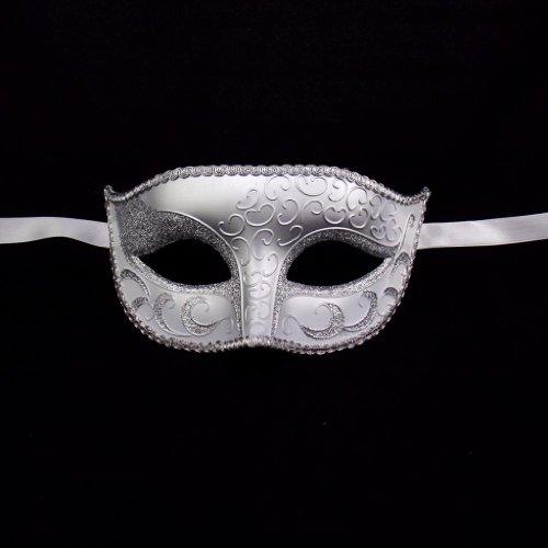 [Luxury Mask Unisex Sparkle  Venetian Mask Mardi Gras White/Silver, One Size] (White Mardi Gras Mask)