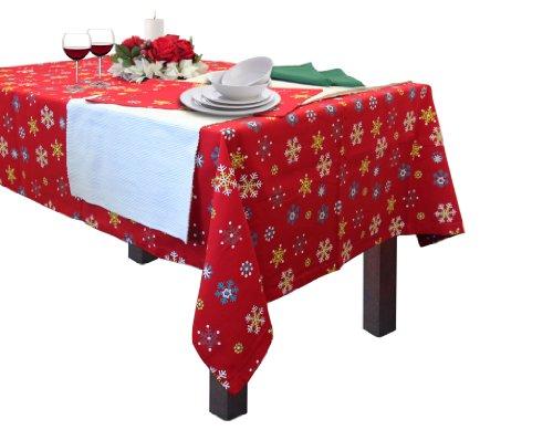 Homescapes Tischdecke Weihnachten rot mit Schneeflocken Motiv 140 x 180 cm, 100% reine Baumwolle