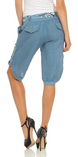 Corti Lino 100 Con Mississhop E Jeans Bottoni Blu Pantaloni Cintura Da Donna UqwfXw