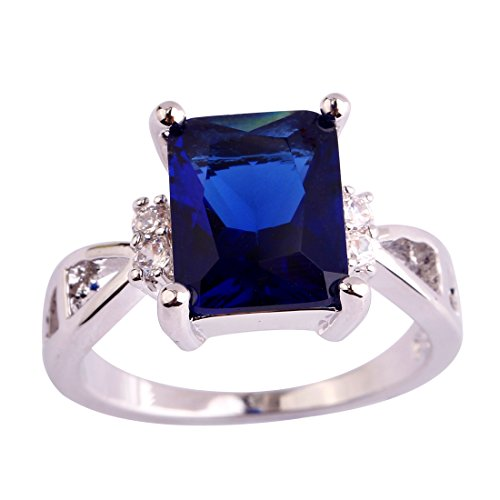 [Psiroy 925 Sterling Silver Dainty 3ct Emerald Cut Sapphire Quartz Filled Ring for Woman] (Good Guy Duo Costumes)