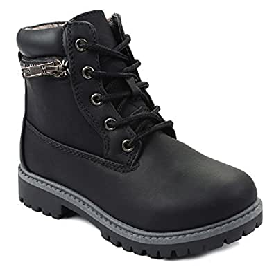 Dallas10 Black Kids Girls Golden Zip Decor Lace Up Faux Nubuck Ankle Combat Boots-9