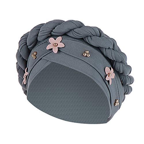 Sunshinehomely Fashion Muslim Women Floral Braid India Hat Cancer Chemo Beanie Turban Wrap Cap (Gray)