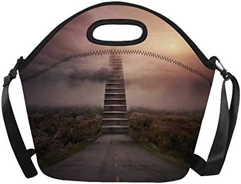 Surrealistic Stylish Neoprene Lunch Bag,Ladder Going Up to Sky Foggy Air Enchanted Philosophical Scenery for Outdoor,One size