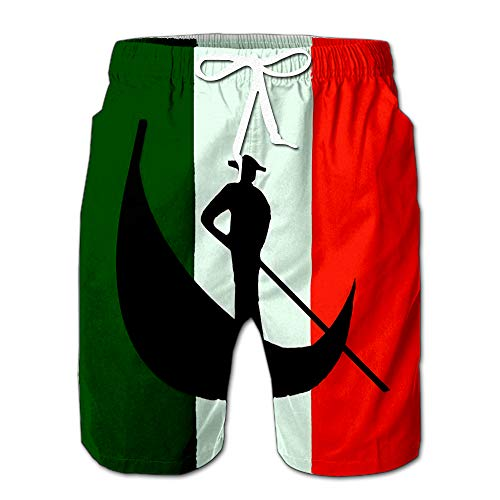 (Quick Dry Italy Symbol Venice Gondola National Flag Design Beach Shorts Swim Trunks Board Shorts XL)