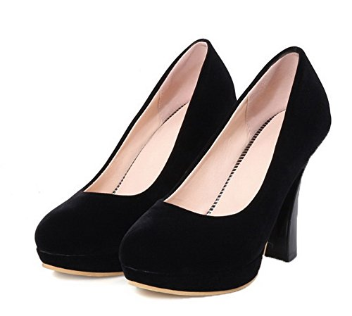 High Shoes WeenFashion Pull Suede on Solid Pumps Black Women's Imitated Heels zz1q4f