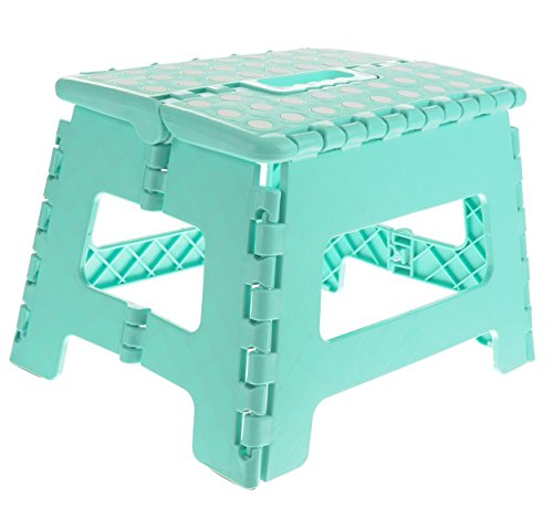 Unity 9 Non-Slip Foldable Step Stool with Carrying Handle - Supports Up to 300LBS - Easy Open - Perfect for Kitchen, Bathroom, Bedroom & More - by Unity (Turquoise/White Dots)