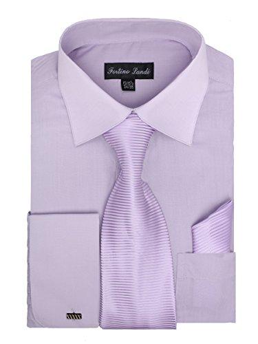 Men's Dress Shirt, Tie, Hanky, and Cufflinks - Lilac XL (17-17.5) 34/35 Sleeve Stripe Spread Collar French Cuff
