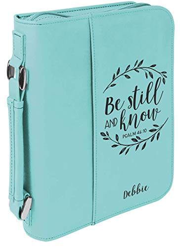 Be Still And Kind Personalized With Name Bible Book Cover Case Zip-up With Handle Slipcover ()