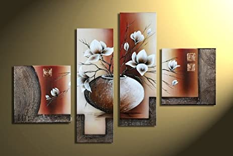 Wieco Art 4-Piece Elegant Flowers Stretched and Framed Hand-Painted Modern Canvas  Wall