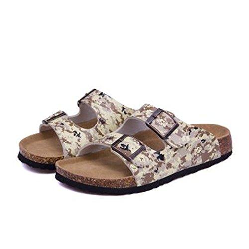 Summer Beach Cork Slippers Casual Double Buckle Clogs Slides Women Slip On Flip Flop Shoe Plus Size Camouflage FnEa6u