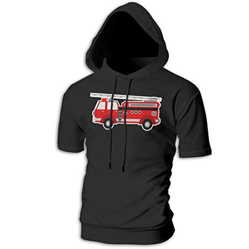 (Men's Fire Truck Sports Short Hooded Sweatshirt Casual Lifting Pullover T-Shirt)