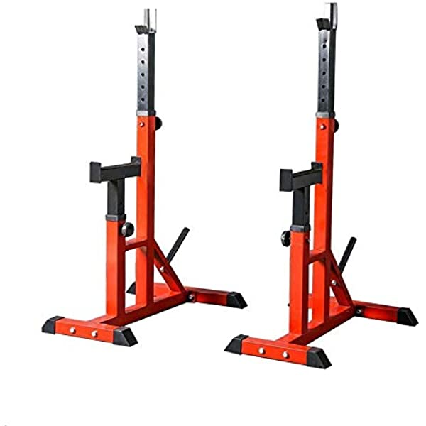 KMKN Squat Rack Multifunction Pull Up Rack Adjustable Height Squat Stand Home Strength Training Equipment Max 250KG//551Lb,Red