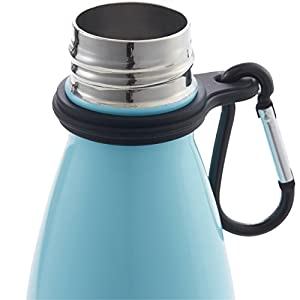 Vacuum Insulated Stainless Steel Water Bottle With Carrier Clip – Leakproof Double Wall - 17 Ounce – Drinks 24 Hour HOT and COLD. By Sunsella (Light Blue)