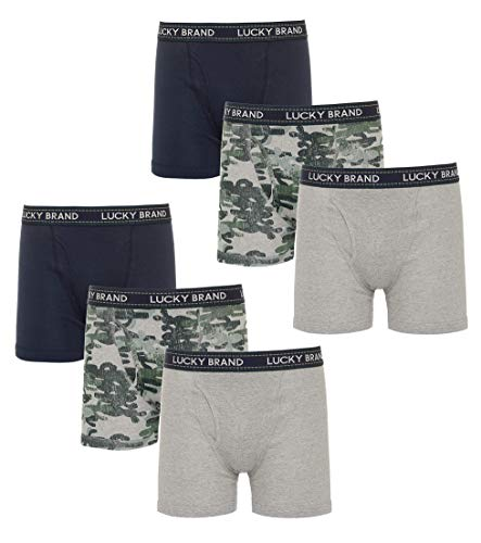 Lucky Brand Men\'s Cotton Boxer Briefs with Functional Fly (6 Pack), Navy/Camo/Grey, Size Medium'