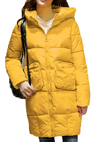 Yellow amp;W Coats Pocket Long M Women's Down Fashion Big amp;S Hooded Sleeve Px5q6
