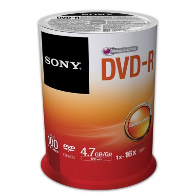 Sony 100DMR47SP 16x DVD-R 4.7GB Recordable DVD Media - 100 P