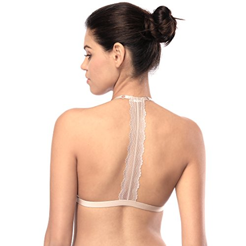 - Tripetals Women's Wireless Adjustable Front Closure Unpadded Lace T Back Racerback Bra, Beige, X-Large