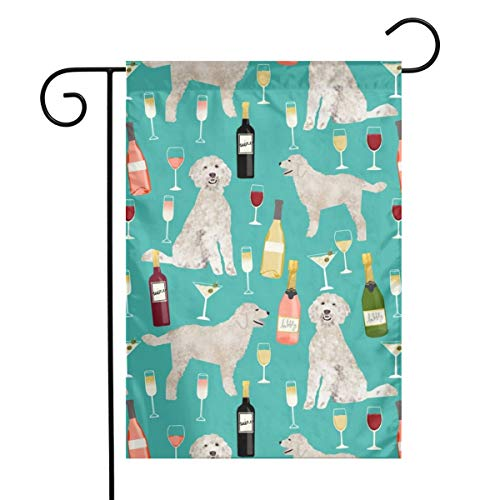 - Mascin Holiday Seasonal Yard Garden Flags Doodle Golden Doodle Wine Beer Drinks Dog Pattern Turquoise_1175 Double Sided Premium Durable Bright Polyester, 12 x 18 Inch
