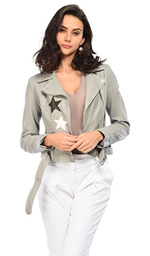 Oakwood Femmes cuir veste star courtney Denim Gris