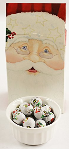 Santa Snowball (Scott's Cakes Foil Wrapped Solid White Chocolate Snowballs in a 8 oz. Standing Santa Box)