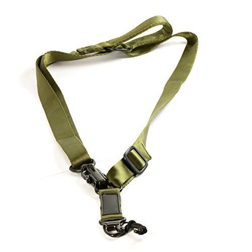 Hunter Select US Tactical Safety Two Points Outdoor Belt Carbine Sling Adjustable Strap, Quick Action Adjustment Systems (Green) (Best Single Point Sling Mount)