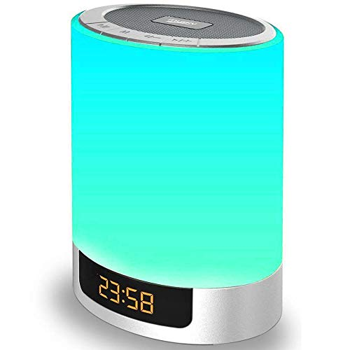 Night Lights Wireless Speaker Poebell Touch Sensor Bedside Lamp Dimmable Warm Light & Color Changing MP3 Music Player, Bluetooth Speaker with Lights for Party, Bedroom Outdoor (Updated Version) (Colored Lamp)
