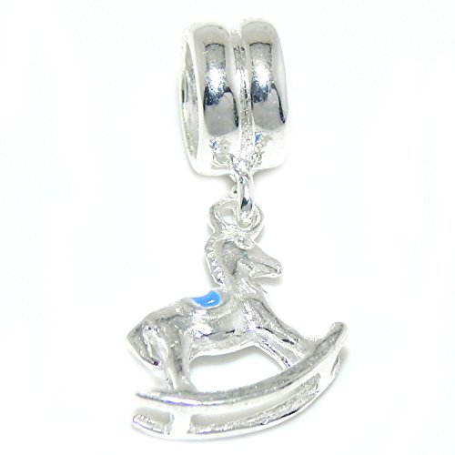 ICYROSE Solid 925 Sterling Silver Dangling Rocking Horse with Blue Saddle Charm Bead ()