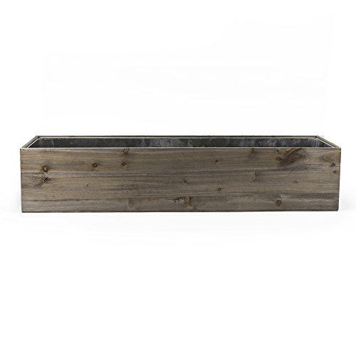 CYS EXCEL Planter Box, Wood Planter, Wood Rectangle Window Box Wood Planters with Removable Zinc Liner, 8 Sizes Available (1, H:8'' Open:8x40'') by CYS EXCEL